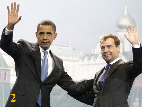 Barack Obama & Russian president Dmitry Medvedev.